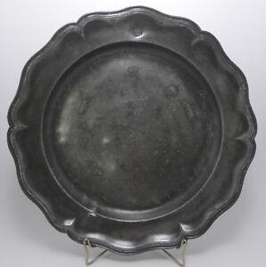 Tin-Antique-Dish-round-Fretwork-Stone-Joseph-Charles-Lille-18th-Century