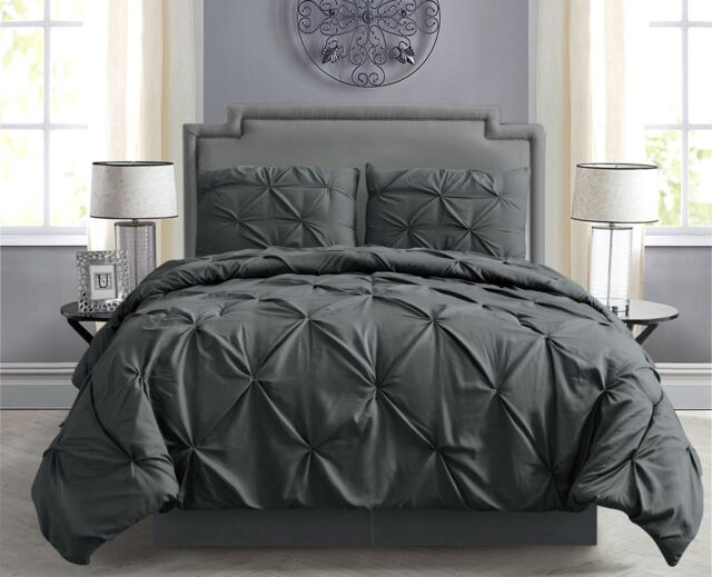 Pintuck Hypoallergenic 8-Piece Bed In A Bag Comforter Set w/ Sheet Set -  Gray