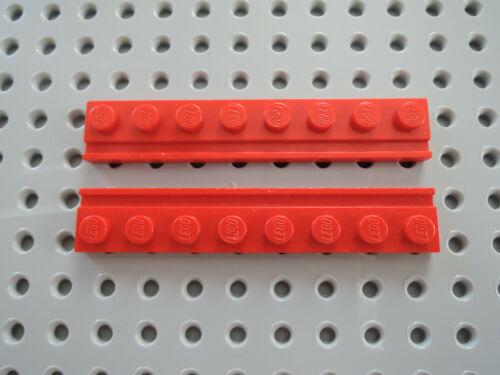 Lego 2 x Platte mit Führungsschiene Führungsbahn 1x8 4510  rot