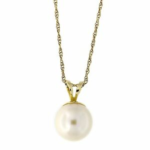 14k-Yellow-White-Gold-Solitaire-5mm-Freshwater-Cultured-Pearl-Pendant-Necklace