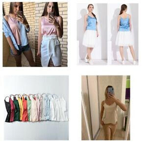 Lot-Women-Silk-Satin-Camisole-Plain-Strappy-Sleeveless-Blouse-Tank-Vest-Tops