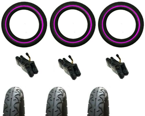 """PINK LINE 3 x OUT N ABOUT NIPPER 3 x 12/"""" Pram Tyres /& 3 x Bent Valve Tubes"""