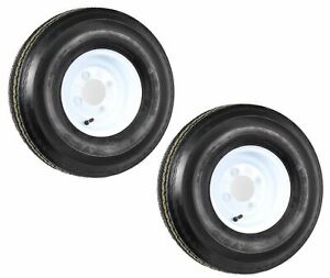 Two-Trailer-Tires-On-Rims-5-70-8-570-8-5-70-X-8-8-in-B-4-Lug-Bolt-Wheel-White