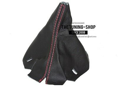 FOR AUDI TT 1998-2006 SHIFT BOOT BLACK GENUINE LEATHER GREY TT EMBROIDERY RED STITCHING