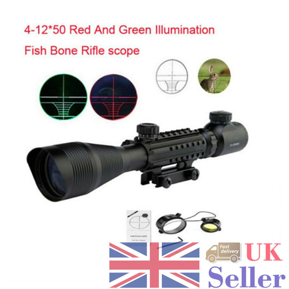 Outdoor Hunting 4-12x50EG Red Green Telescope Pistol Sight Scope With Side Rails