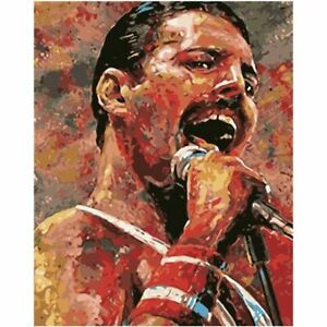 Abstract Freddie Mercury Singing Paint By Numbers Paint Included Canvas Art