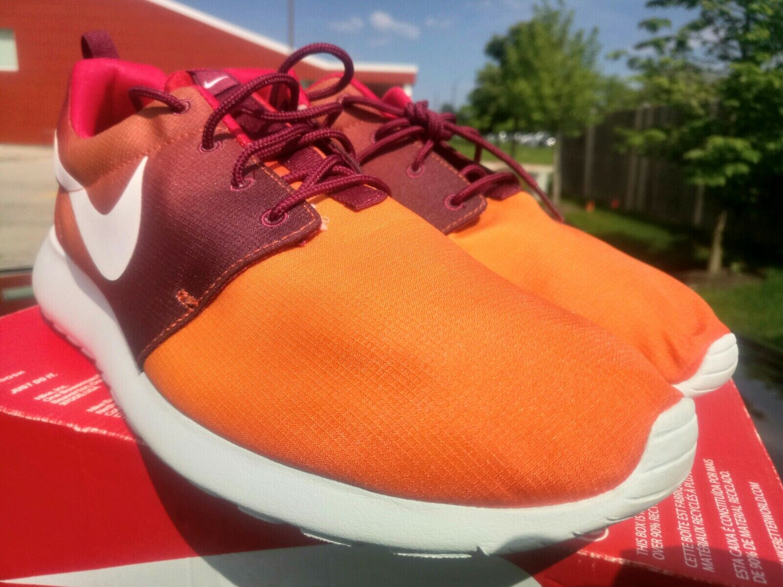 NIKE ROSHE ONE PRINT MEN& 039;S SIZE 13 orange White 655206 816 BRAND NEW shoes