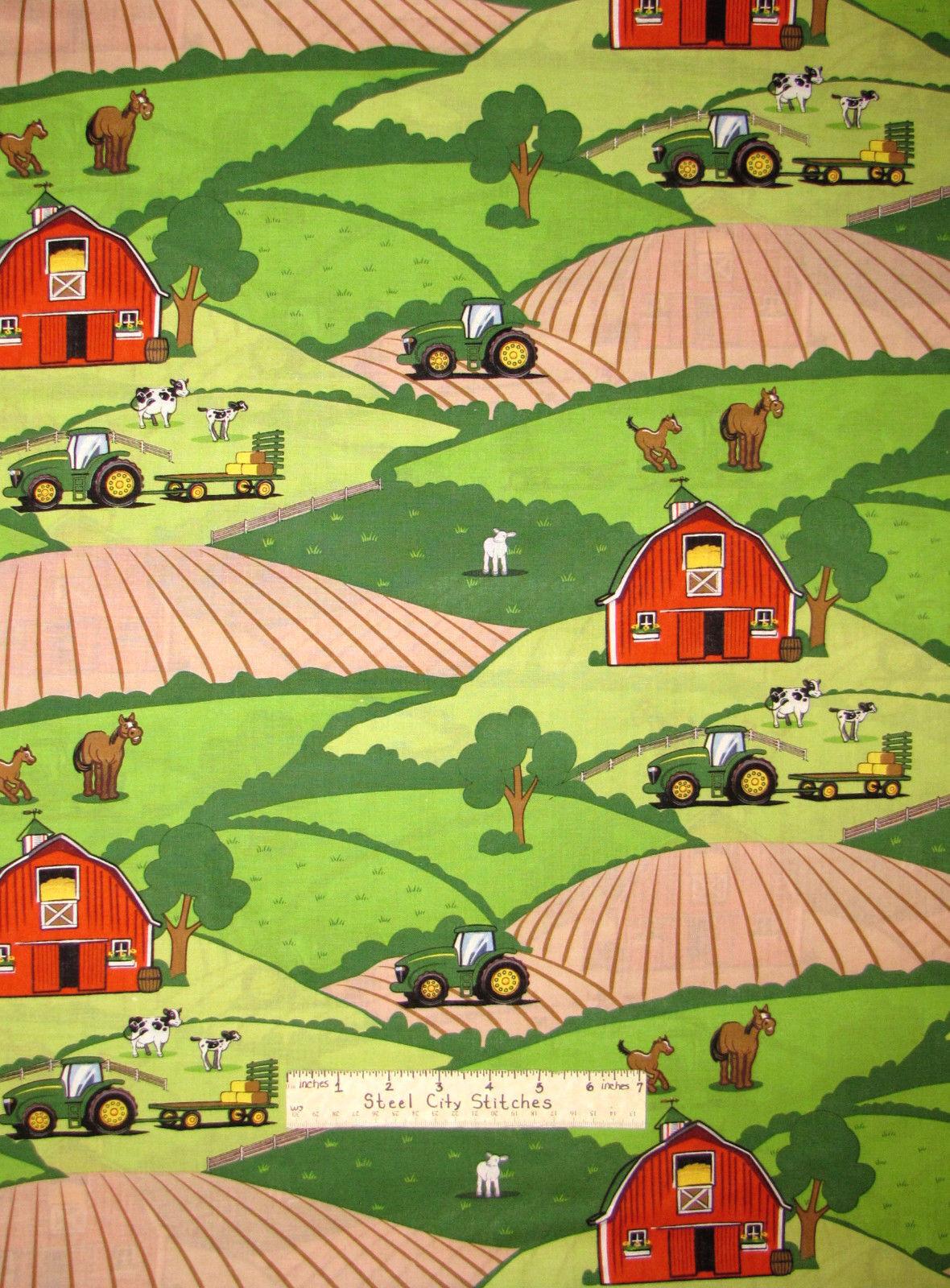 Yard John Deere Big Time Tractor Scenic Farm Cotton Fabric CP59368 Springs