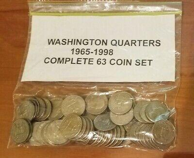 US coin lots 1965-1998 P/&D COMPLETE WASHINGTON QUARTER 63 COIN SET CIRC to BU