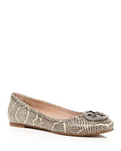 NIB Tory Burch Reva Ballet Flats shoes Cobra-Embossed Black Natural 9 M