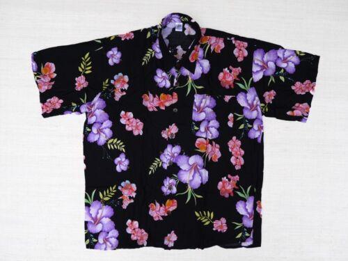 Hawaii camicia hawaii Hawaii Camicia Nero Hibiskus grandi viola