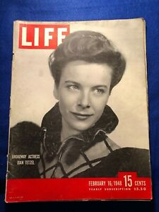 VINTAGE LIFE MAGAZINE February 16, 1948 'Broadway Actress Joan Tetzel' |  eBay