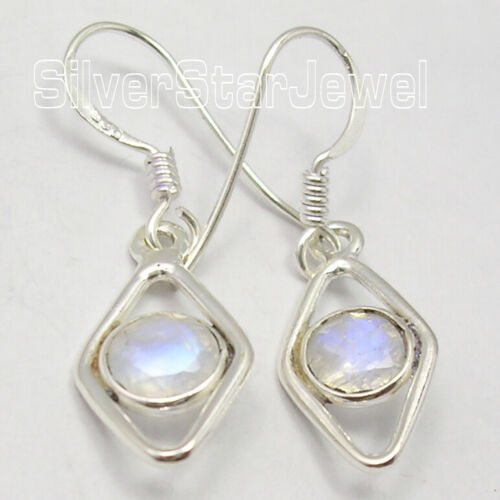 """Details about  /Solid Sterling Silver Genuine Blue Round Rainbow Moonstone Dangle Earrings 1.3/"""""""