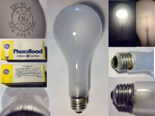 2x New GE 500W 120V EBV 3,400K Studio Super Photoflood Light Bulbs FREE SHIPPING