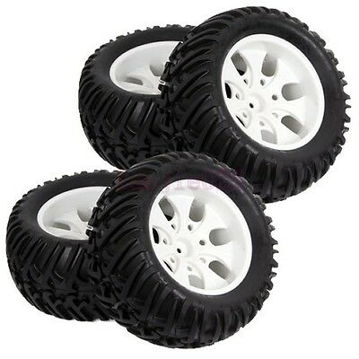 4PCS RC 1:10 Off-Road Monster Truck Bigfoot Tyre Tires & Wheel Rim White 88001