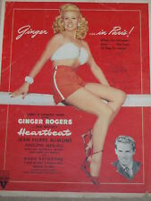 """Ginger Rogers & Jean Pierre Aumont signed 8.5x11 magazine Add for """"Heartbeat"""""""