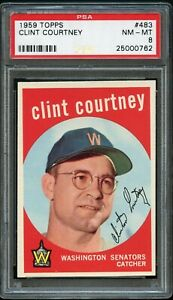 1959-Topps-BB-Card-483-Clint-Courtney-Washington-Senators-PSA-NM-MT-8