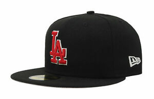 New Era 59Fifty Hat MLB Los Angeles Dodgers Mens Black Red White Big Size LA Cap