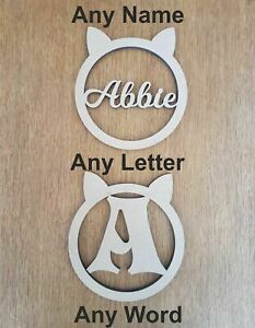6 mm Thick MDF Wooden Name Letters Cats Ears Heights 10 cm to Large 60 cm
