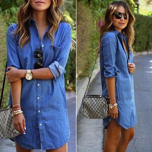 verano-mujer-Casual-Vintage-DENIM-MANGA-LARGA-vaqueros-vestido-camisero