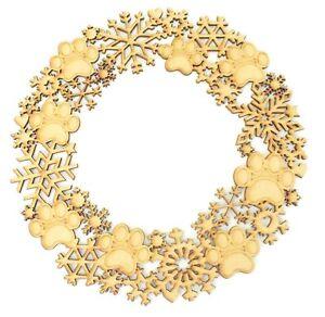 Paw-Print-E-FIOCCO-DI-NEVE-IN-LEGNO-MDF-Natale-Craft-Corona-Decorazione-Gift
