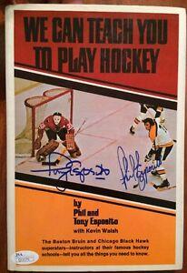 TONY + PHIL ESPOSITO SIGNED Book Dustcover JSA Autograph Boston Chicago Hockey