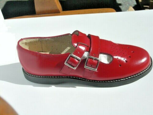 Vintage Style Shoes, Vintage Inspired Shoes    Muffys Red English Leather Sandal US Womens sizes  $59.00 AT vintagedancer.com