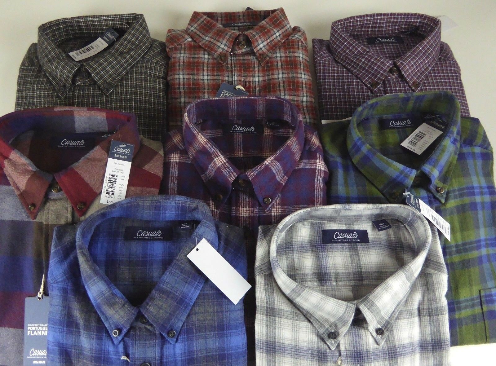 Roundtree & Yorke Casuals Douro Soft Portuguese Flannel Plaid Shirt NWT -58