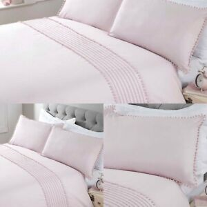 Pom-Pom-Duvet-Cover-Set-Luxury-Cotton-Bedding-Sheets-King-Pink