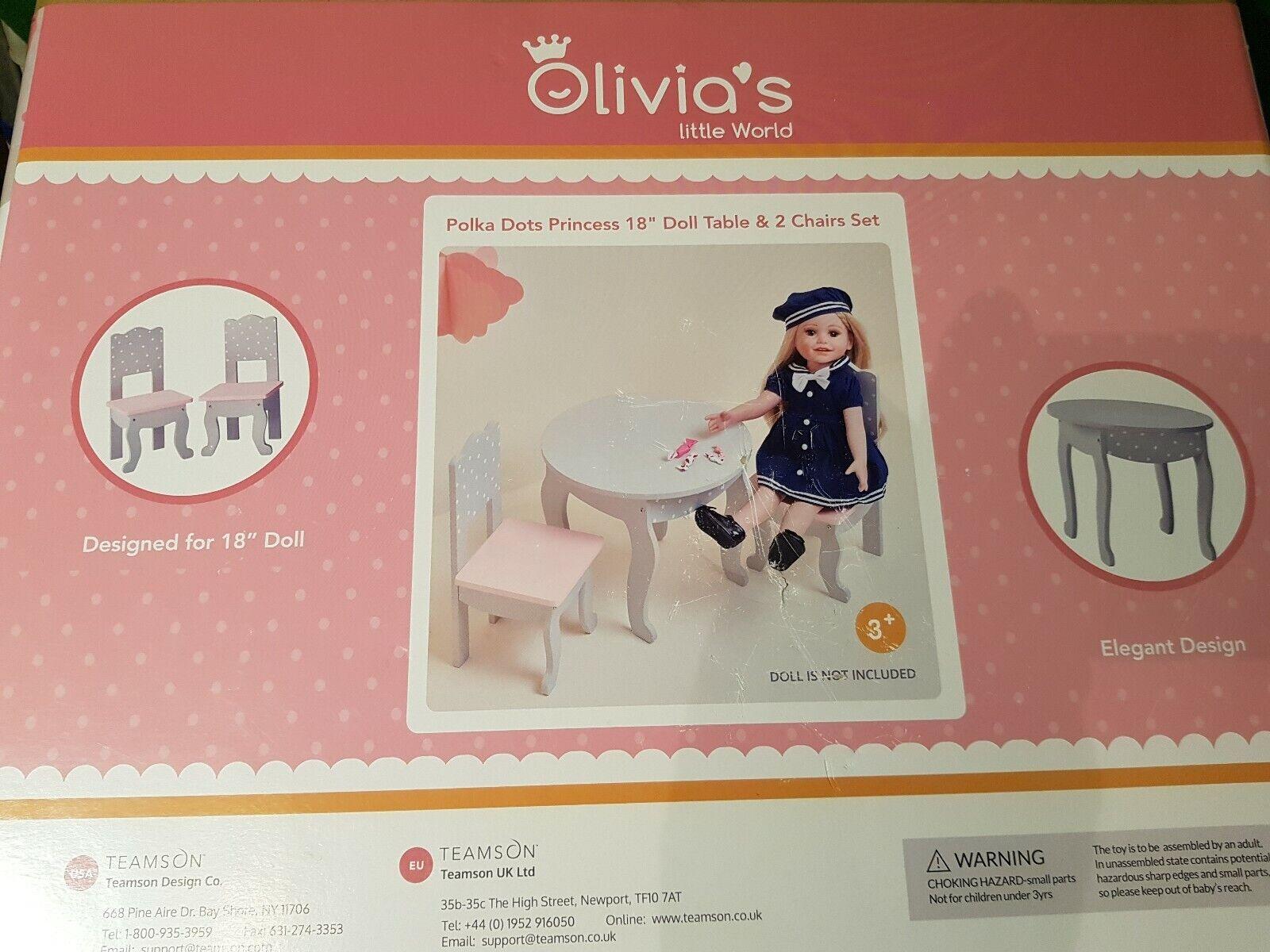autentico online OLIVIAS World 18    bambino bambola mobili in legno Indoor Tavolo Sedie Set a Pois  best-seller