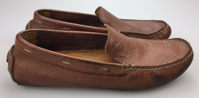 Brown Leather Driving Moccasins Slip