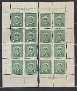 1942 #249 1¢ KING GEORGE VI WAR ISSUE MS PLATE BLOCK #31 F-VFNH