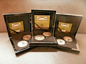 Flying-Scotsman-Locomotive-3-Cased-Commemorative-Medallion-Sets-Silver-amp-9ct-Gold