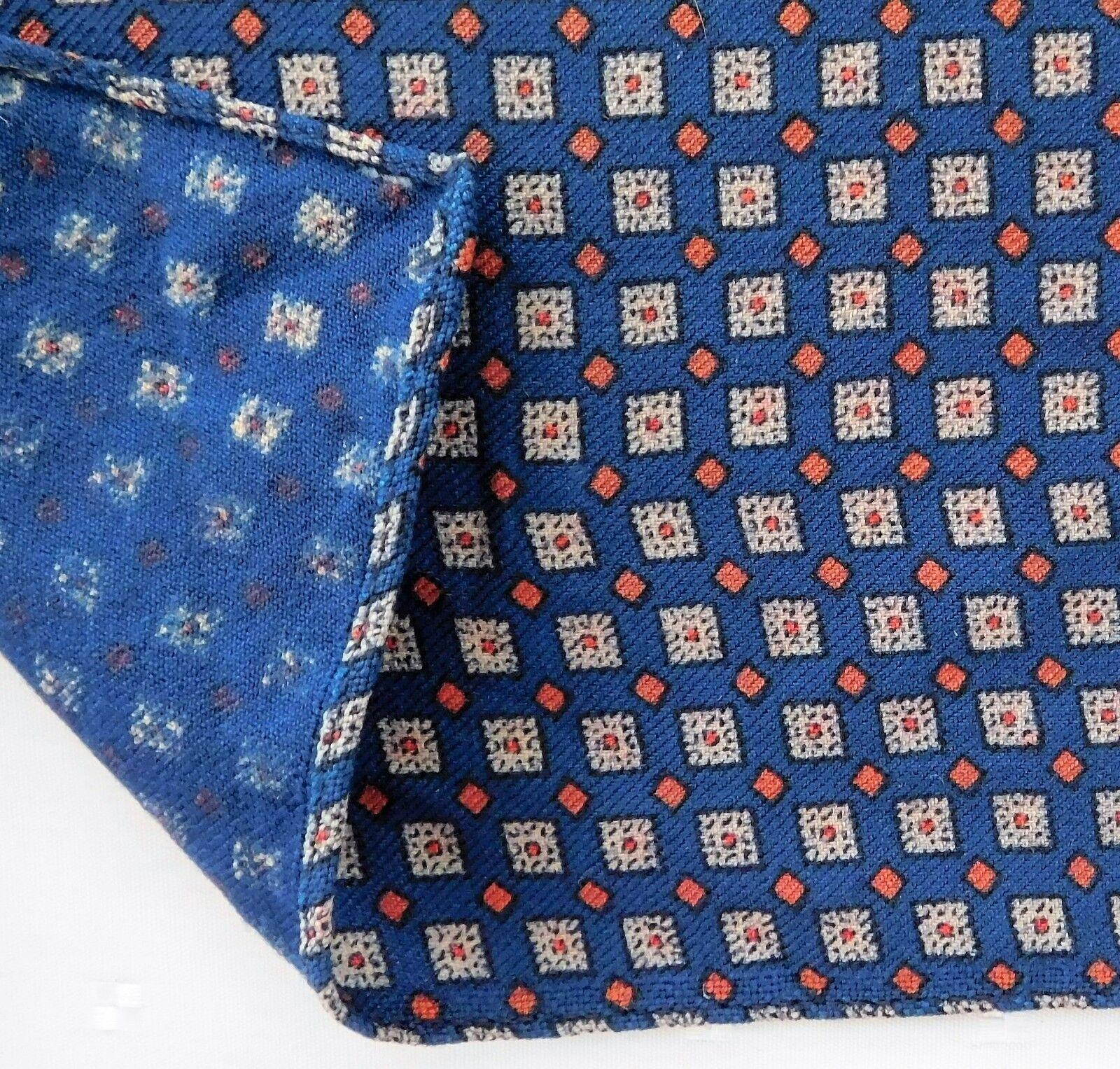 Vintage blue wool scarf with pattern 34