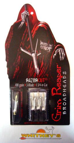 "100 Grain 3 lame 1804 Grim Reaper RazorCut à manches courtes Broadheads 1 3//4/"" Coupe"