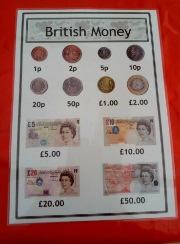 BRITISH MONEY DISPLAY//ROLEPLAY//MATHEMATICS//VALUES COINS /& NOTES A4 POSTER
