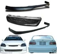 1999-2000 Civic 2 4 Door Type R Pu Black Add-on Front + Rear Bumper Lip + Grill