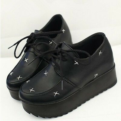Womens Wedge Heel Platform Flats Creepers Oxfords Casual Punk Goth Lace Up Shoes