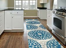"Teal Gray Off-White Area Rug Runner Contemporary Unique Carpet Decor 2' x 7'2"""
