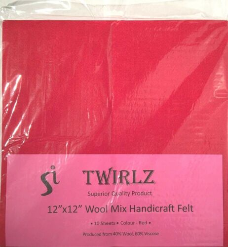 """5 PACKS OF 10 50 SHEETS 12/"""" x 12/"""" SQUARES RED FELT WOOL-VISCOSE WHOLESALE"""