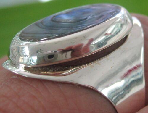 925 sterling silver 14x28mm PAUA SHELL Abalone Ring Big size K to Z GIRL WOMEN