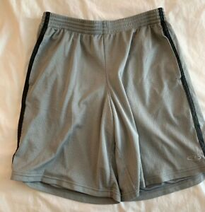 MENS L GRAY CHAMPION MESH BASKETBALL WORK OUT SHORTS BRAND NEW LINED POLYESTER
