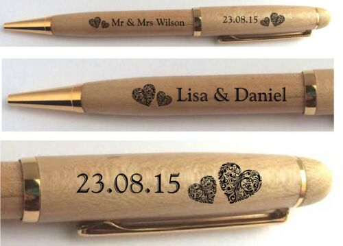 PERSONALISED ENGRAVED WEDDING PEN MR /& MRS GUEST BOOK SIGNING ANNIVERSARY GIFT