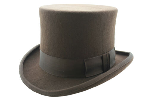 GENTS WEDDING DERBY EVENT 100/% WOOL HAND MADE SATIN LINED BROWN TOP FELT HAT!!!