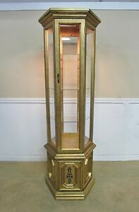 Delightful Image Is Loading VINTAGE CURIO CABINET  GOLD GILT ILLUMINATED DISPLAY SHELVES