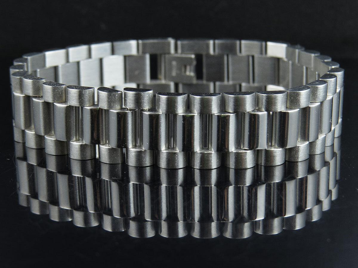 White gold Finish Stainless Steel Presidential Solid Design Bracelet (15MM) 8.5