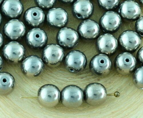 40pcs Metallic Round Druk Spacer Seed Czech Glass Beads 6mm