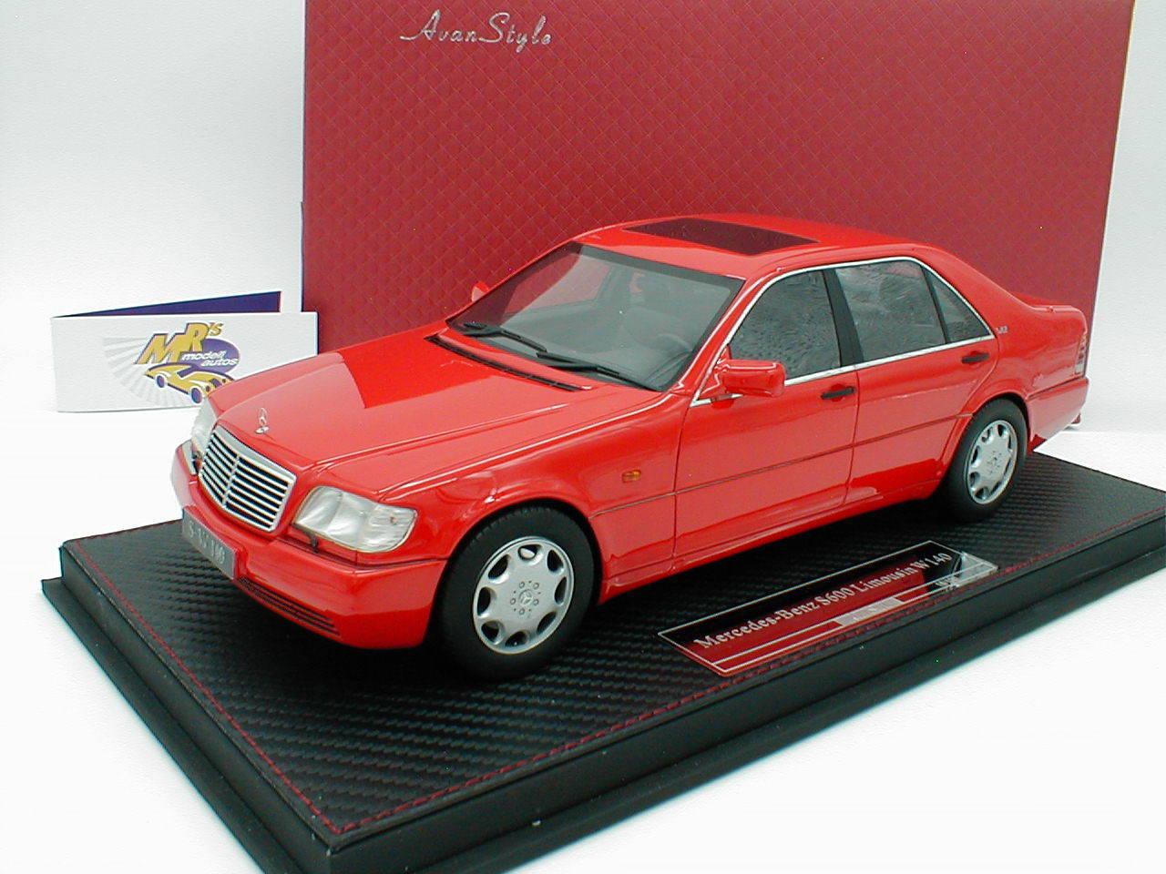 """FrontiArt AS007-06 - Mercedes Benz S600 (W140) Baujahr 1997 in """" rot """" 1 18 NEU"""