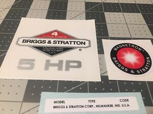 Briggs-amp-Stratton-5-hp-1981-1986-Shroud-Labels-Decals-set-of-3-Magnetron