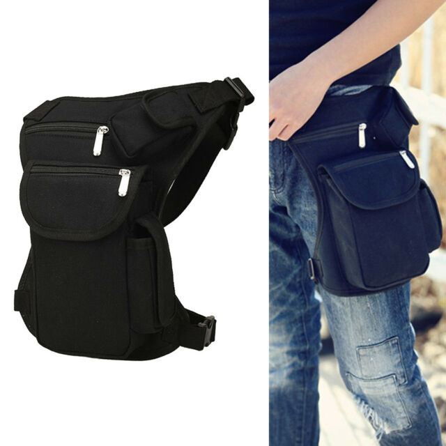 Men Canvas Drop Leg Bag Motorcycle Rider Tactical Military Belt Waist Fanny  Pack 2350f8bfb8c06